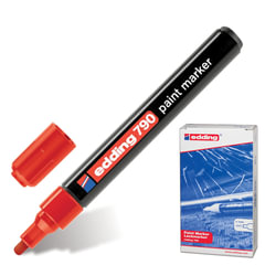 Маркер-краска лаковый EDDING, 2-4 мм, круглый наконечник, пластиковый корпус, красный