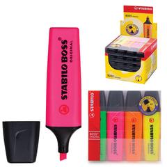 """Текстмаркеры STABILO, набор 4 шт., """"Boss"""", скошенный наконечник 2-5 мм (желтый, зеленый, розовый, оранжевый)"""