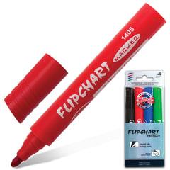 Маркеры для флипчарта KOH-I-NOOR, набор 4 штуки, непропитывающие, круглые, 2,5 мм