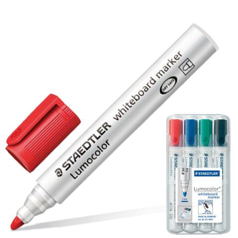 """Маркеры для доски STAEDTLER (ШТЕДЛЕР, Германия), набор 4 шт., """"Lumocolor"""", круглый наконечник, 2 мм (черный, синий, красный, зел.)"""