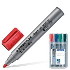 Маркеры для флипчарта STAEDTLER (ШТЕДЛЕР, Германия), набор 4 шт., 2 мм, непропитывающие (черный, синий, красный, зеленый)