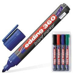 Маркеры для доски EDDING 360, набор 4 шт., круглый наконечник 1,5-3 мм (черный, красный, синий, зеленый)