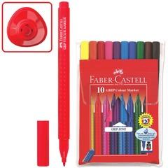 """Фломастеры FABER-CASTELL """"GRIP"""", 10 цветов, смываемые, трехгранные, в упаковке с европодвесом"""