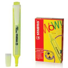 """Текстмаркер STABILO """"Swing cool"""", скошенный наконечник 1-4 мм, карманный клип, желтый"""
