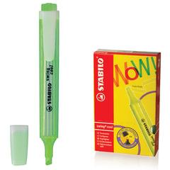 "Текстмаркер STABILO ""Swing cool"", скошенный наконечник 1-4 мм, карманный клип, зеленый"