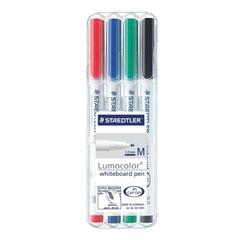 """Маркеры для доски STAEDTLER, набор 4 шт., """"Lumocolor"""", круглые, 1 мм, (черный, синий, красный, зеленый)"""