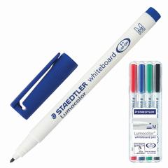 """Маркеры для доски STAEDTLER (Штедлер, Германия), набор 4 шт., """"Lumocolor"""", круглые, 1 мм, (черный, синий, красный, зеленый)"""