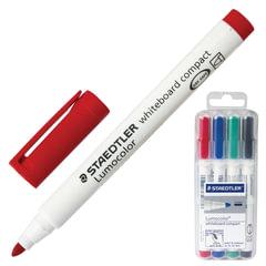 """Маркеры для доски STAEDTLER (Штедлер, Германия), набор 4 шт., """"Lumocolor"""", круглые, 1-2 мм, (черный, синий, красный, зеленый)"""