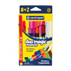 """Фломастеры CENTROPEN """"DUOMAGIC"""", 8+2 цветов, ширина линии 2-3 мм, перекрашиваемые"""