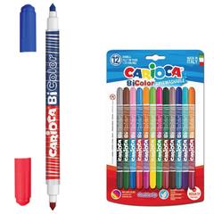 """Фломастеры двухсторонние CARIOCA (Италия) """"Bi-color"""", 12 штук, 24 цвета, суперсмываемые, вентилируемый колпачок"""
