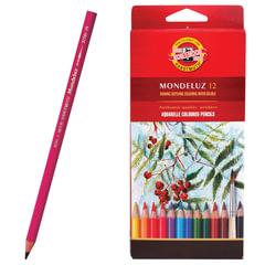 """Карандаши цветные акварельные художественные KOH-I-NOOR """"Mondeluz"""", 12 цветов, грифель 3,8 мм, заточенные, картонная упаковка"""