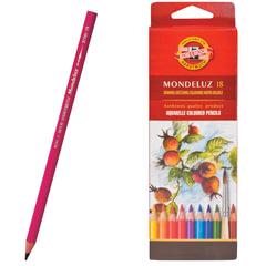 """Карандаши цветные акварельные художественные KOH-I-NOOR """"Mondeluz"""", 18 цветов, грифель 3,8 мм, заточенные, картонная упаковка"""