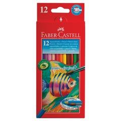 """Карандаши цветные акварельные FABER-CASTELL (Германия) """"Colour Pencils"""", 12 цв., с кисточкой, картонная упаковка"""