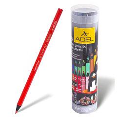 """Карандаши цветные ADEL """"Colour"""", 24 цвета, черное дерево, алюминиевый тубус"""