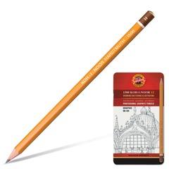 """Карандаши чернографитные KOH-I-NOOR """"Graphic"""", набор 12 шт., 5В-5H, без резинки, заточенные, металлическая коробка"""