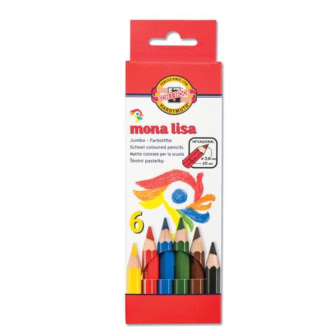 """Карандаши цветные утолщенные KOH-I-NOOR """"Mona Lisa"""", 6 цветов, грифель 5,6 мм, заточенные"""