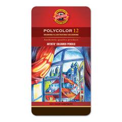 """Карандаши цветные художественные KOH-I-NOOR """"Polycolor"""", 12 цветов, грифель 3,8 мм, заточенные, металлическая коробка"""