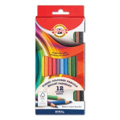 Карандаши цветные KOH-I-NOOR, 12 цв., круглое сечение корпуса, грифель 3,2 мм, заточенные, картонная упаковка с европодвесом