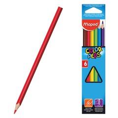 """Карандаши цветные MAPED (Франция) """"Color Pep's"""", 6 цветов, трехгранные, картонная упаковка с европодвесом"""