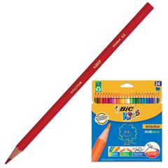 """Карандаши цветные BIC """"Kids ECOlutions Evolution"""" (Франция), 24 цвета, пластиковые, заточенные, картонная упаковка"""