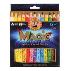 """Карандаши с многоцветным грифелем KOH-I-NOOR, набор 13 шт., """"Magic"""", трехгранные, грифель 5,6 мм, европодвес"""