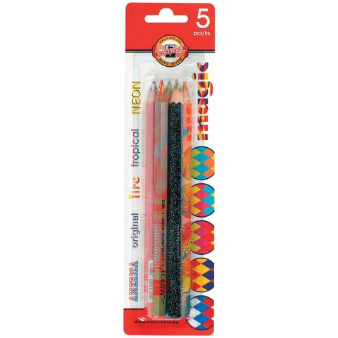 "Карандаши с многоцветным грифелем KOH-I-NOOR, набор 5 шт., ""Magic"", 5,6 мм, блистер"