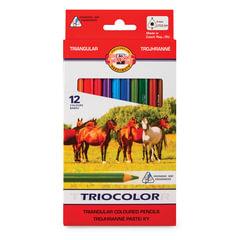 """Карандаши цветные утолщенные KOH-I-NOOR """"Triocolor"""", 12 цветов, трехгранные, грифель 5,6 мм, заточенные"""