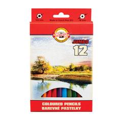 """Карандаши цветные утолщенные KOH-I-NOOR """"Omega"""", 12 цветов, 5,6 мм, заточенные, европодвес"""