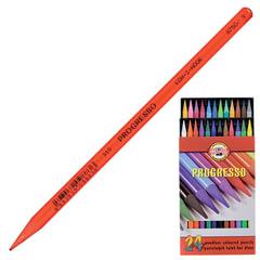 """Карандаши цветные художественные KOH-I-NOOR """"Progresso"""", 24 цвета, грифель 7,1 мм, в лаке, без дерева, заточенные, карт. упаковка"""