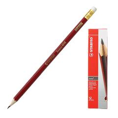 """Карандаш чернографитный STABILO, 1 шт., """"Swano"""", HB, корпус красный, с ластиком, заточенный"""