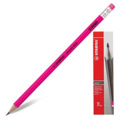 """Карандаш чернографитный STABILO, 1 шт., """"Swano"""", HB, корпус неоновый розовый, с ластиком, заточенный"""