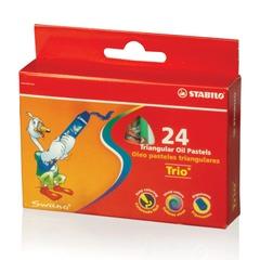 """Восковые мелки утолщенные STABILO """"Trio"""", на масляной основе, трехгранные, 24 цвета, европодвес"""