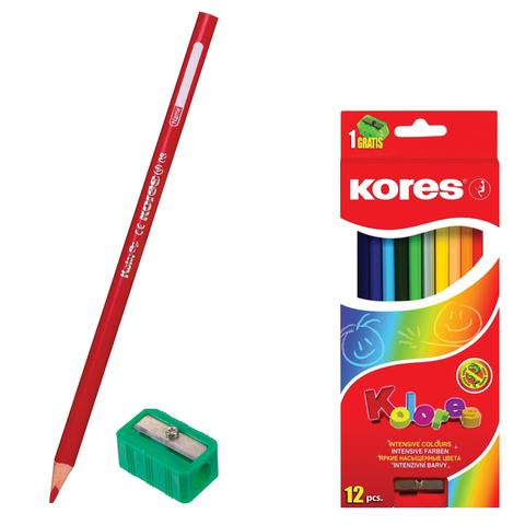"""Карандаши цветные KORES """"Kolores"""", 12 цветов, с точилкой, заточенные, в картонной упаковке с европодвесом"""