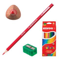 """Карандаши цветные KORES """"Kolores"""", 12 цветов, трехгранные, с точилкой, заточенные, в картонной упаковке с европодвесом"""