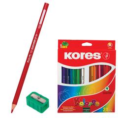 """Карандаши цветные KORES """"Kolores"""", 24 цвета, трехгранные, с точилкой, заточенные, в картонной упаковке с европодвесом"""