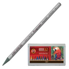 """Карандаши цветные акварельные художественные KOH-I-NOOR """"Progresso"""", 12 цветов, грифель 7,1 мм, в лаке, заточенные, металл. короб"""