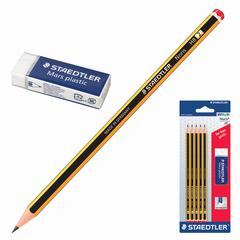 Набор STAEDTLER (ШТЕДЛЕР, Германия), чернографитные карандаши 5 шт. (НВ) и резинка стирательная