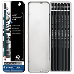 Карандаши угольные STAEDTLER (Штедлер, Германия), набор 6 шт., 8B, 6В, 4В, 2В, металлический пенал