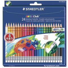 """Карандаши цветные с резинкой STAEDTLER (Германия) """"Noris club"""", 24 цвета, заточенные, подвес"""