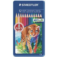 """Карандаши цветные STAEDTLER (Германия) """"Noris club"""", 12 цветов, металлический пенал"""