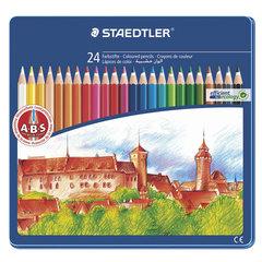 """Карандаши цветные STAEDTLER (Германия) """"Noris club"""", 24 цвета, заточенные, металлический пенал"""