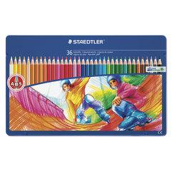 """Карандаши цветные STAEDTLER (Штедлер, Германия) """"Noris club"""", 36 цветов, металлический пенал"""