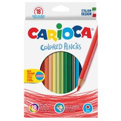 Карандаши цветные CARIOCA (Италия), 18 цветов, грифель 3 мм, шестигранные, заточенные, европодвес