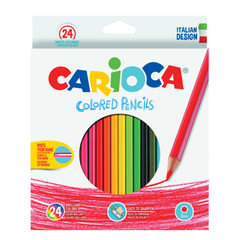 Карандаши цветные CARIOCA (Италия), 24 цвета, грифель 3 мм, шестигранные, заточенные, европодвес