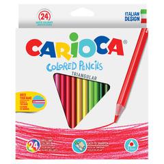 """Карандаши цветные CARIOCA """"Triangular"""", 24 цветов, трехгранные, грифель 3,5 мм, европодвес"""