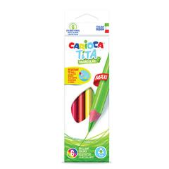 """Карандаши цветные утолщенные CARIOCA """"Tita Triangular Maxi"""", 6 цветов, пластиковые, трехгранные, 5 мм"""