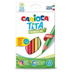 """Карандаши цветные утолщенные CARIOCA """"Tita Triangular Maxi"""", 12 цветов, пластиковые, трехгранные, 5 мм"""