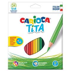 """Карандаши цветные CARIOCA """"Tita"""", 24 цвета, пластиковые, грифель 3 мм, шестигранные, европодвес"""