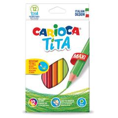"""Карандаши цветные утолщенные CARIOCA """"Tita Maxi"""", 12 цветов, пластиковые, шестигранные, 5 мм"""