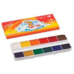 """Краски акварельные ГАММА """"Мультики"""", 12 цветов, медовые, картонная коробка, без кисти"""